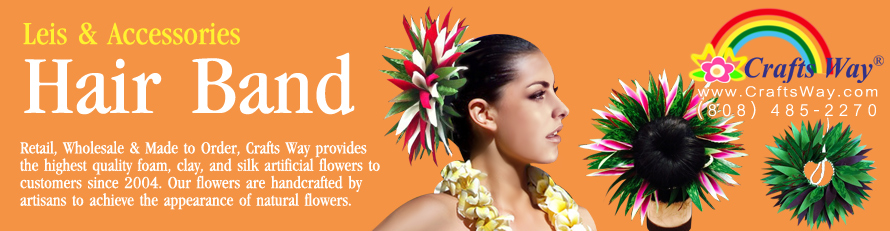 Hawaiian Artificial Flower & Leaves Hair Band | CraftsWay.com