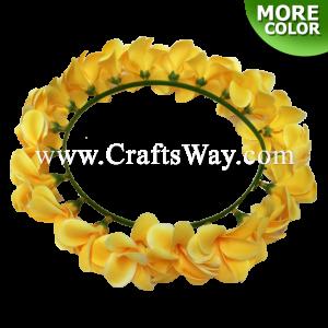 HK007-B Silk Plumeria Headband, Hawaiian Flower Headband, Flower Haku Headband