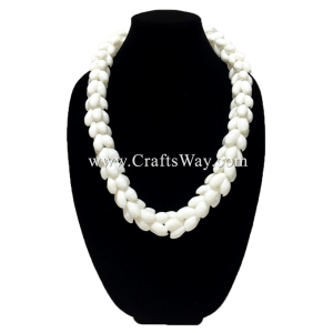 "SL03 White Shell Lei,Hawaiian Necklace, 34"" Long"