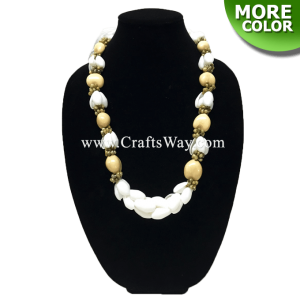 "SL05 White Shell, Kukui Nut & Mongo Shell Lei,Hawaiian Necklace, 34"" Long"