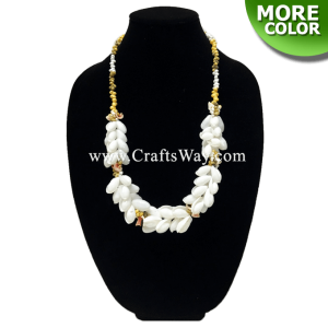 "SL01 White Shell Mongo Shell Lei,Hawaiian Necklace, 34"" Long"
