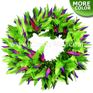 Braided Heliconias & Fern Leaves