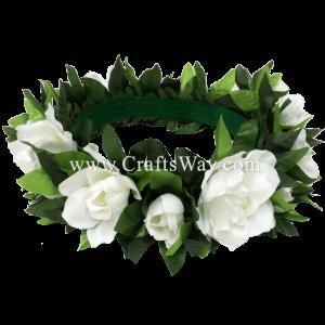 Silk Gardenia Velcro Headband, Hawaiian Flower Headband, Flower Haku Headband
