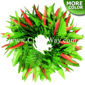 HB07-01 Braided Heliconias & Fern Leaves