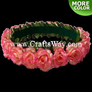 HK008-G Silk Rose Velcro Headband, Hawaiian Flower Headband, Flower Haku Headband