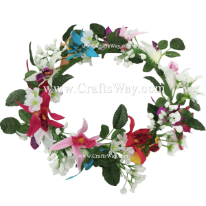 HK009-A Silk Orchid Headbnd, Hawaiian Flower Headband, Flower Haku Headband