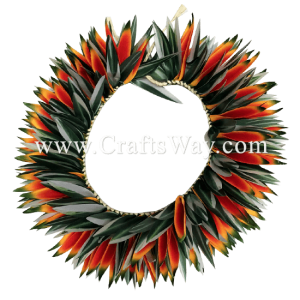 HK015 Braided Heliconias & Smooth Leaves Headband