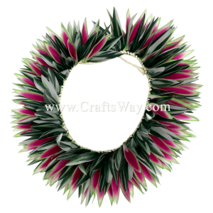 HK016 Braided Heliconias & Smooth Leaves Headband