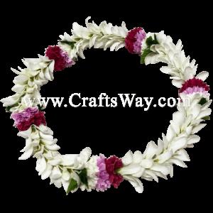 HK026 Elastic Jasmine Bozu Fern Headband, Hawaiian Flower Headband, Flower Haku Headband