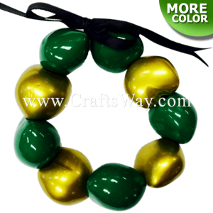 KNB04 2 Tone Painted Kukui Nut Bracelet