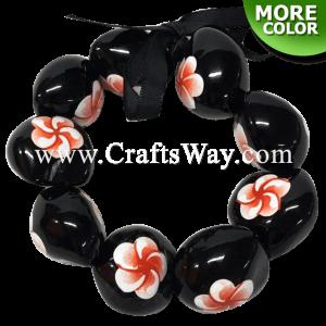 KNB05 Hand Painted Plumeria A Kukui Nut Bracelet