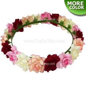 HK007-C Silk Rose Headband, Hawaiian Flower Headband, Flower Haku Headband