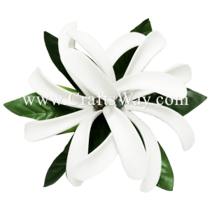 CMS-004 Custom Made Flower Hairpiece, Foam Tiare (B) with Pearl Hair Clip