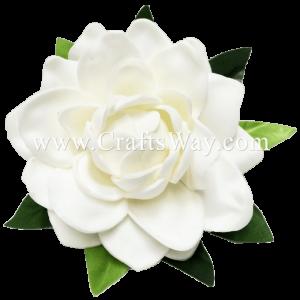 CMS-005 Custom Made Flower Hairpiece, Foam Gardenia (P) Hair Clip