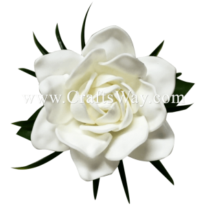 CMS-058 Custom Made Flower Hairpiece, Foam Gardenia (A) Hair Clip
