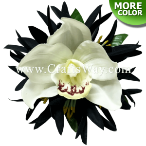 CMS-062 Custom Made Flower Hairpiece, Silk Spider Lily & Cymbidium Orchid Hair Clip