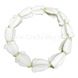 CYB-101 Artificial Clay Flower, Crown Flower Wristband #White