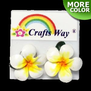 CYE-102 Artificial Clay Flower, Plumeria (B) Earrings