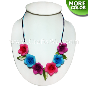 CYN-401 Artificial Clay Flower, Rose Necklace