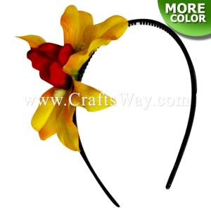 FHB1-001 Custom Made Flower Hairpiece, Silk Orchid Headband