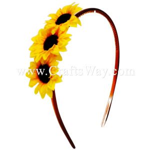 FHB5-002 Custom Made Flower Hairpiece, Mini Sunflower Headband