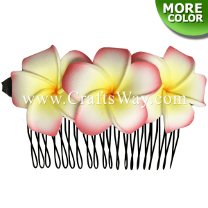 HCS-002 Custom Made Flower Hairpiece, Plumeria Hair Comb