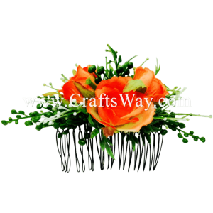 HCS-008 Custom Made Flower Hairpiece, Silk Rose Hair Comb - Orange