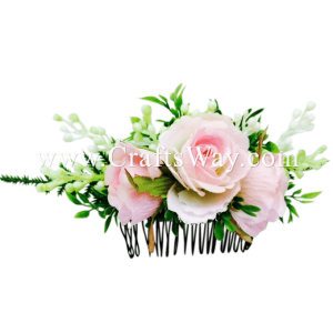 HCS-009 Custom Made Flower Hairpiece, Silk Rose Hair Comb - Light Pink