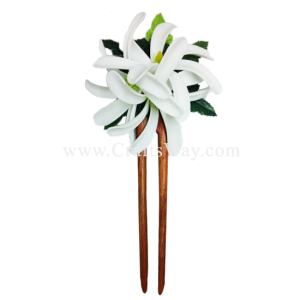 WD2F-301 Custom Made Flower Hairpiece, 3 White Foam Tiares (D) Hair Stick
