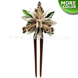 WD2F-502 Custom Made Flower Hairpiece, Orchid (B) Hair Stick