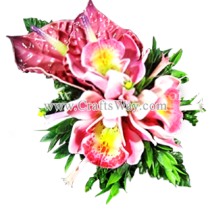 CML-002 Custom Made Flower Hairpiece, Cymbidium (D) & Anthurium Hair Clip