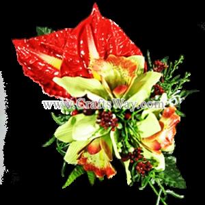 CML-003 Custom Made Flower Hairpiece, Cymbidium (A) & Anthurium Hair Clip