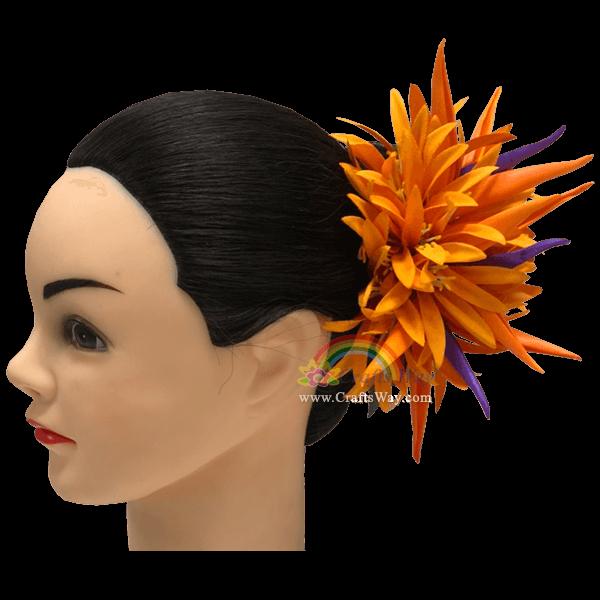 CML-006 Custom Made Flower Hairpiece, Spider Lily & Bird of Paradise Hair Clip, Hairpiece Made in Hawaii, Hair Accessories for Hawaiian Wedding Items, Hula Dancer
