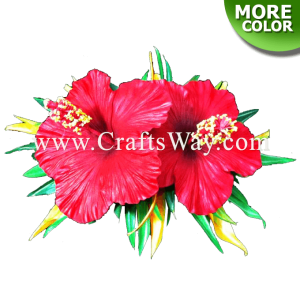 CML-007 Custom Made Flower Hairpiece, Hibiscus & Heliconia Hair Clip