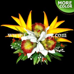CML-014 Custom Made Flower Hairpiece, Cymbidium (A) & Heliconia Hair Clip