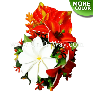 CML-015 Custom Made Flower Hairpiece, Tiare, Lily & Anthurium Hair Clip
