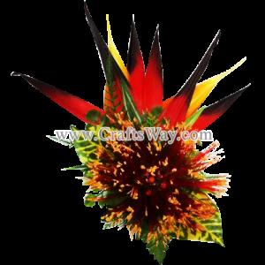 CML-017 Custom Made Flower Hairpiece, Lehua & Bird of Paradise Hair Clip