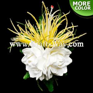 CML-020 Custom Made Flower Hairpiece, Spider Lily & Gardenia (A) Hair Clip
