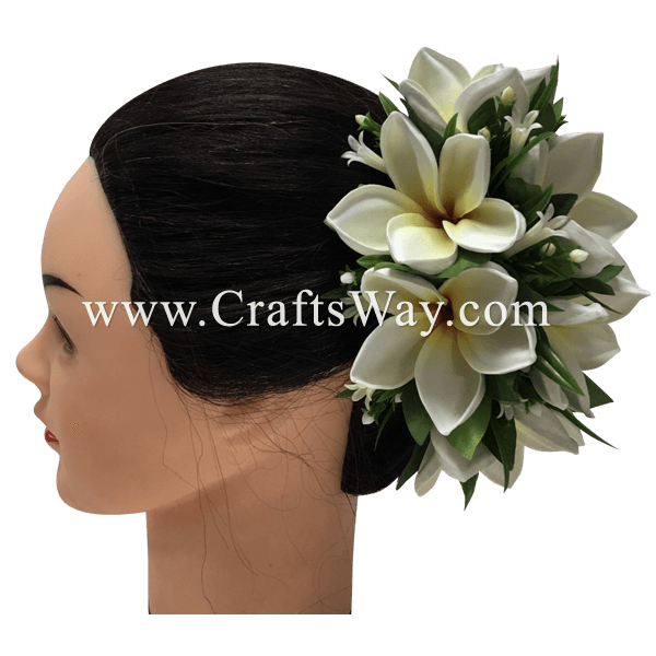CML-029 Custom Made Flower Hairpiece, Plumeria (N) Hair Clip Sample