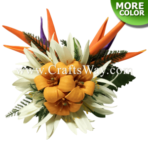 CML-030 Custom Made Flower Hairpiece, Pua kenikeni, Spider Lily & Bird of Paradise Hair Clip
