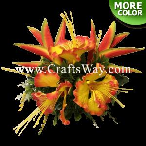 CML-035 Custom Made Flower Hairpiece, Ohai-Ali'i & Heliconia Hair Clip
