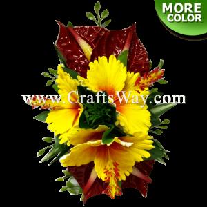 CML-041 Custom Made Flower Hairpiece, Hibiscus & Anthurium Hair Clip