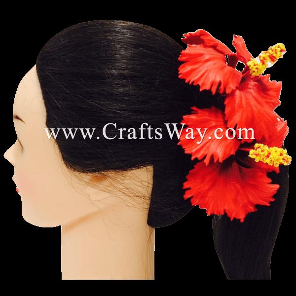 CMM-028 Custom Made Flower Hairpiece, Hibiscus (E) Hair Clip Sample