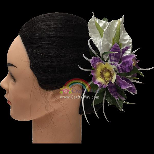 CMM-059 Custom Made Flower Hairpiece, Orchid Hair Clip Sample