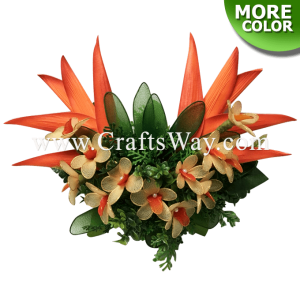 CMM-072 Custom Made Flower Hairpiece, Heliconia & Nylon Orchid Hair Clip