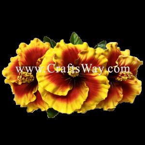 CMM-075 Custom Made Flower Hairpiece, Hibiscus (Q) Hair Clip