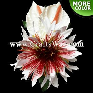 CMM-084 Custom Made Flower Hairpiece, Anthurium, Spider Lily & Lehua Hair Clip
