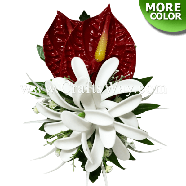CMM-087 Custom Made Flower Hairpiece, Anthurium & Tiare (OI) Hair Clip