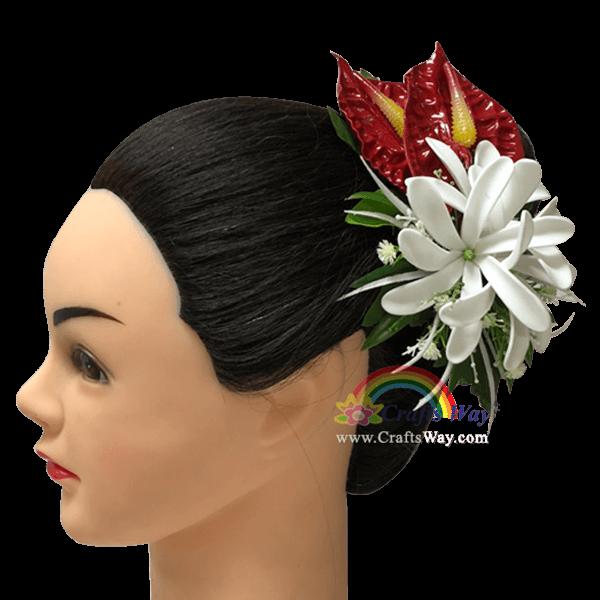 CMM-087 Custom Made Flower Hairpiece, Anthurium & Tiare (OI) Hair Clip Sample