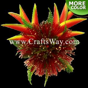 CMM-092 Custom Made Flower Hairpiece, Lehua & heliconia Hair Clip